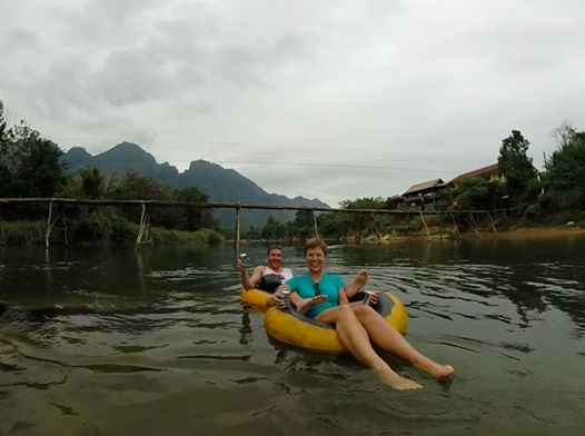 Tubing in VangVieng. Photo courtesy of Edwin Sia, one of our tubing buddies!